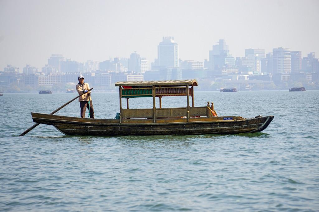 We took a boat ride on the big lake in Hongzhou
