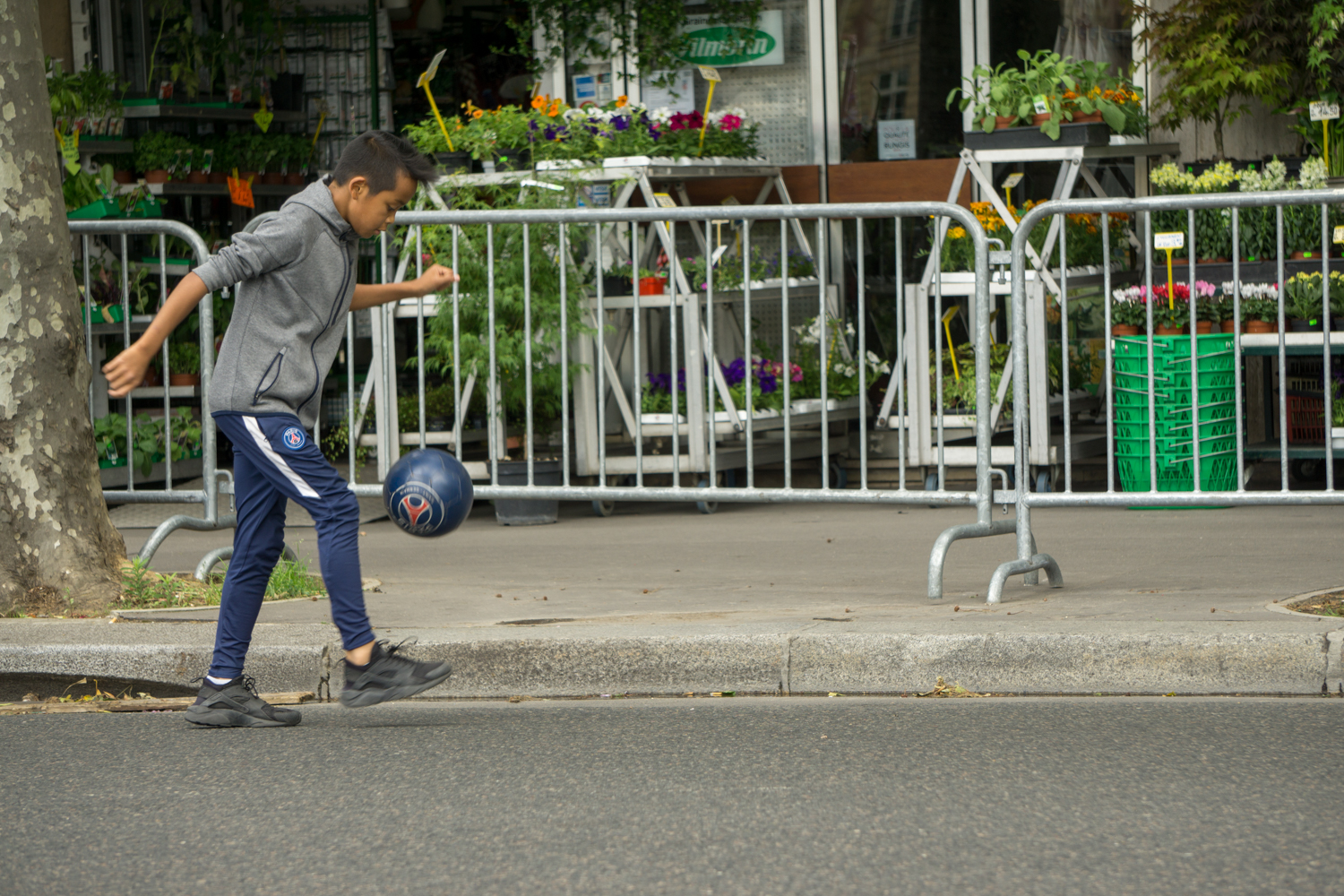PARIS: A child plays in the street